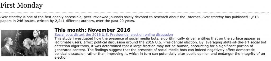 First Monday: Social bots distort the 2016 U.S. Presidential election online discussion